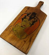 "Vintage 19"" Hand Burned Wood Dyed Horror Bride of Frankenstein Cutting Board"