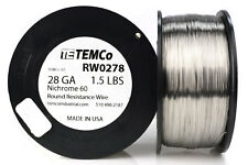 TEMCo Nichrome 60 series wire 28 Gauge 1.5 lb (3385 ft)Resistance AWG ga