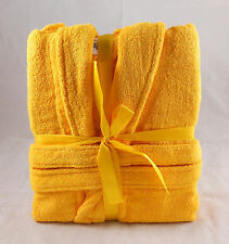 Saffron Golden Yellow Terry Towelling Bath Robe Dressing Gown 100% Cotton Medium