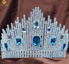Beauty Pageant Tiara Blue Crystal Crown Rhinestone Wedding Bridal Prom Party New