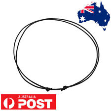 1mm THIN Vegan Adjustable Choker Necklace Black Wax FAUX Leather Knot Cord