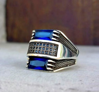 HEAVY Sapphire Turkish 925 Sterling Silver blue stone Mens Man ring ALL SİZE se1
