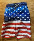 Boy's Sz 8 Zero Xposur Patriotic American Flag Swim Suit Trunks Shorts W/Liner
