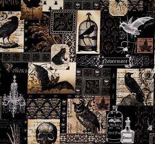 1m tessuto Michael Miller Nevermore Gothic TESCHI PIPISTRELLI CUCCE Pozione Bottiglie
