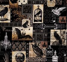 1m Michael Miller nevermore fabric gothic skulls bats birdcages potion bottles