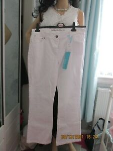 ladies authentic stretch  denim white summer trousers size 14 new