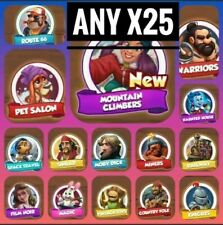 x25 Cards any  :- Coin Master Card ( not included jazz, aquarium , airport set)