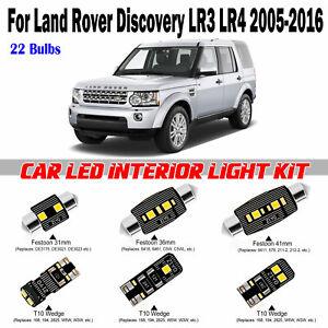 22 Bulbs White Interior LED Light Kit For Land Rover Discovery LR3 LR4 2005-2016