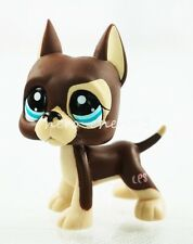 2.3'' Brown Great Dane Dog Puppy Dot Eyes Hasbro Littlest Pet Shop LPS Toy #1519