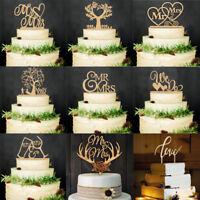 """Mr and Mrs"" Vintage Wedding Cake Topper Laser Cut Wood letters Cake Decors"