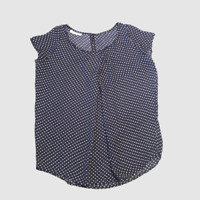 Short Sleeve Women's Blouse, Round Neck, Navy Blue Background & White Polka Dots