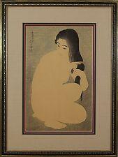 Torii Kotondo (Japanese 1900-1976) Original Woodcut Print Combing Hair c.1929