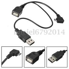 Micro USB Male To A USB Female Host OTG Cavo + USB Power Cable Y Splitter New