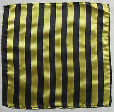 Hankie Pocket Square Handkerchief NEW MENS Hanky GREY YELLOW STRIPED