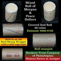 (20) 1878-1935 Silver Dollars in a Shotgun Bank Rolls - All Morgan and Peace WOW