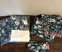 Vintage Floral Curtains Blouson Valance JC Penney Concord Forest Green New