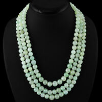700.00 CTS NATURAL 3 LINE GREEN AQUAMARINE ROUND SHAPE BEADS NECKLACE - (DG)