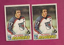 2 X 1977-78 OPC # 55 RANGERS PHIL ESPOSITO ERROR CARD (INV#2751)