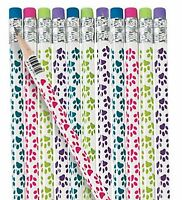 Pack of 12 - Paw Prints Wooden Pencils with Erasers - Patrol Party Bag Fillers