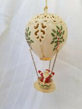 000006F9 New ListingVintage Lenox china Santa in tea cup hot air balloon Xmas ornament, 2002