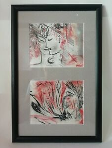 Tableau 2 dessins aux Fusains Visages de Femmes signés POCHAT ANNE-MARIE