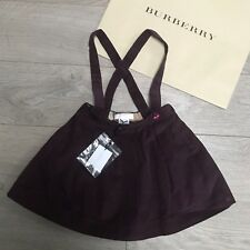 New BURBERRY velvet skirt Girls 3y Burgandy Blackcurant Burberry dungaree skirt
