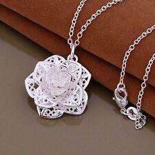PLATA 925 collar cadena colgante flor rosa regalo de Joyería Día de San Valentín