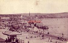 UK ENGLAND DORSET, WEYMOUTH BAY & SANDS crowds on beach, wheeled cabanas