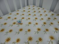 Cot Sheet Fitted Sunflowers Pure Cotton Fits up to 79 x 130cm mattress