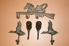 (5) Duck Hunting Dog Decor Wall Hooks,Cast Iron Outdoor Collection