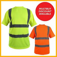Hi Vis Viz T-Shirt High Visibility Reflective Tape Safety Security Work Top