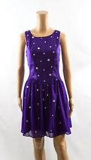 LIPSY Embellished Purple Mesh Cut Out Skater Occasion Dress