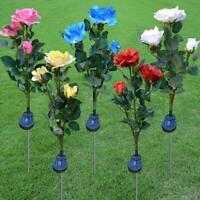 Garden Flower LED Solar Powered Lights Outdoor Yard Standing Decor Waterproof