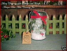 Antique Atlas Blue Canning Jar Vtg Xmas Snowglobe Decor Primitive Santa Gift Tag