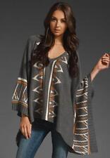 Goddis Knits M/L Fits Plus Size XL 1X 2X Vallin Sweater Poncho Tribal Print Grey