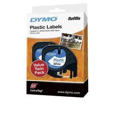 DYMO LetraTag Plastic Label Tape 12mm Black on White Dual Pack AP013764P