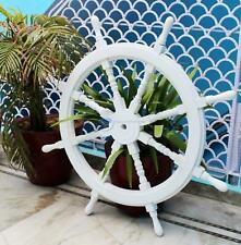 "36""  White Washed Ship Wheel Wood Ship's Wheels/Wood Ship Steering Nautical Gift"