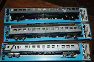 Marklin lot de 3 voitures éclairées DB 4158 4159 4160 HO