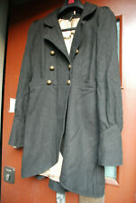 GOTHIC BLACK GOLD WOOL BLEND COAT TOPSHOP 10 STEAMPUNK VICTORIAN MILITARY