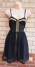INFLUENCE BLACK GOLD STUDDED BEADED ZIP FRONT SKATER PARTY PROM DRESS 12 M