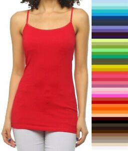Womens Bozzolo Tank Top Cami W/Shelf BRA Long Layering Spaghetti Strap S,M,L