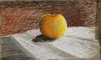 Original Still Life Impressionism Oil Pastel Apple Painting Study artwork signed