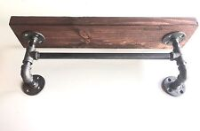 """Industrial Urban Pipe 24"""" Shelf with 18"""" Towel Bar made with 2x10"""""""