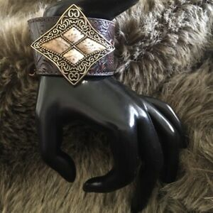 Barse hand tooled leather jasper bracelet