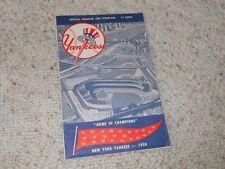 1958 N. Y. YANKEES VS. DETROIT TIGERS BASEBALL SCOREBOOK-MICKEY MANTLE-NICE!!!
