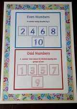 Odd & Even - Numbers - EYFS KS1 KS2 - A4 laminated Poster- Mathematics