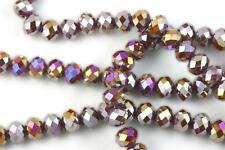 36 pcs 10mm Chinese Crystal Glass Loose Beads Faceted Rondelle Dark Red Agate AB