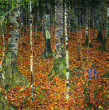 "GUSTAV KLIMT :: BIRCH FOREST ( BIRKENWALD )  TREES WOODLAND :: 24"" CANVAS PRINT"