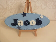 Personalised Boys Navy Blue & White Oval Wooden Door/Wall Plaque Sign