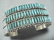 New ListingImportant Vintage Zuni Blue Gem Turquoise Petit Point Sterling Silver Bracelet